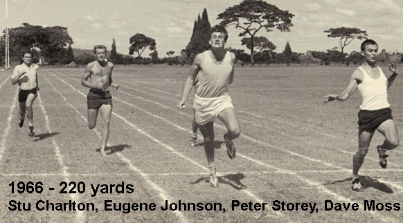 1966 220 yard sprint from left Stu Charlton and Eugene Johnson C17 and Peter Storey and Dave Moss Course 16 winner