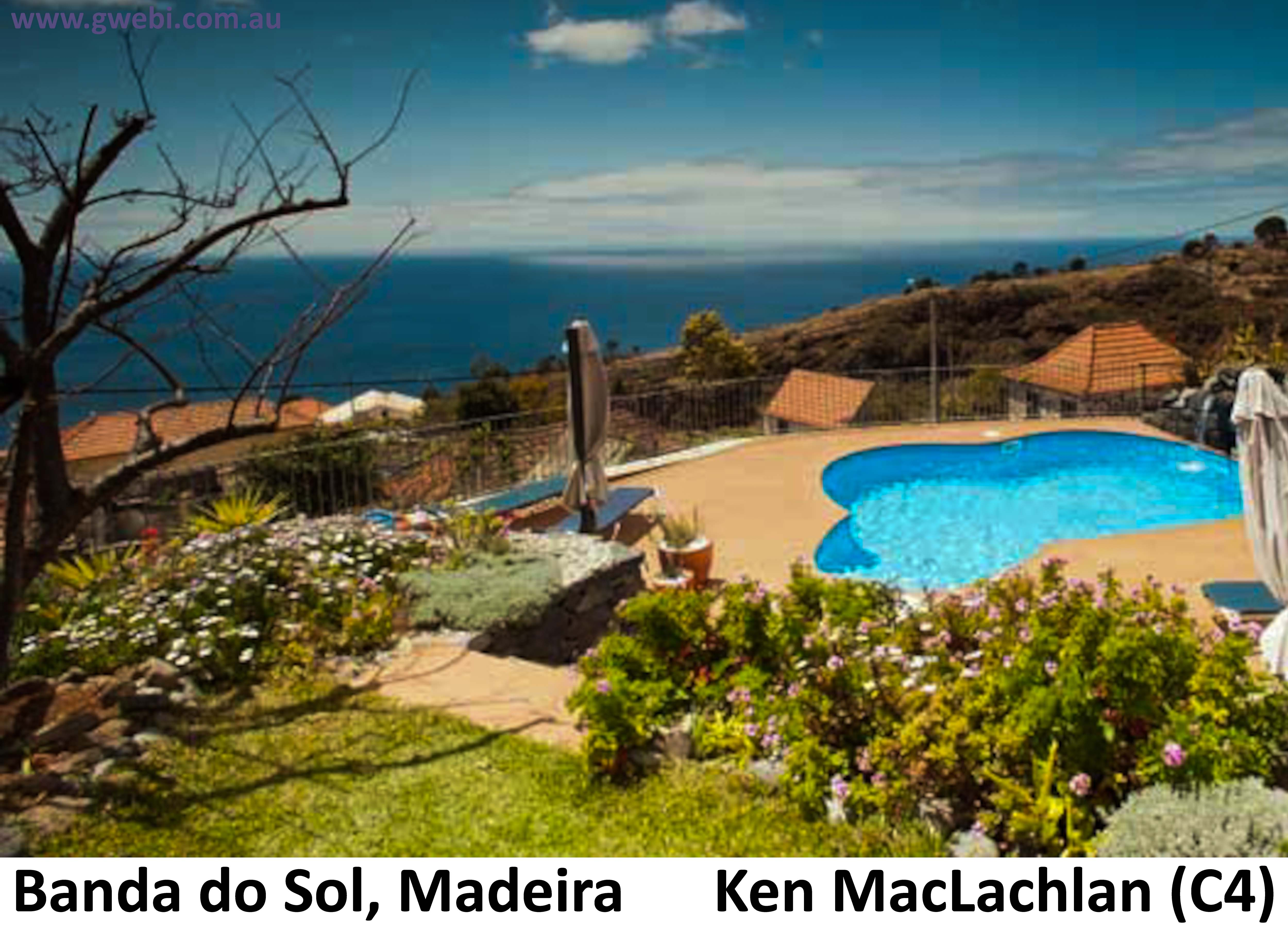 View beyond swimming pool at Banada do Sol in Madeira, Portugal owned by Ken MacLachlan Gwebi College of Agriculture