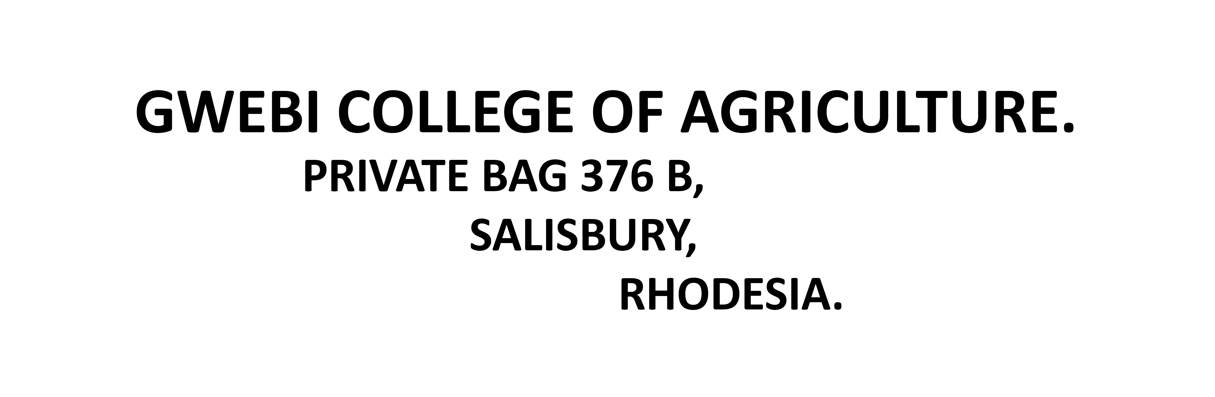 Gwebi College of Agriculture address