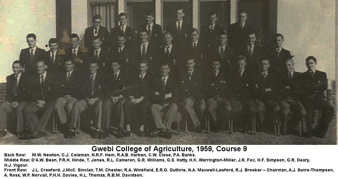 Gwebi College of Agriculture Course 9 in 1959
