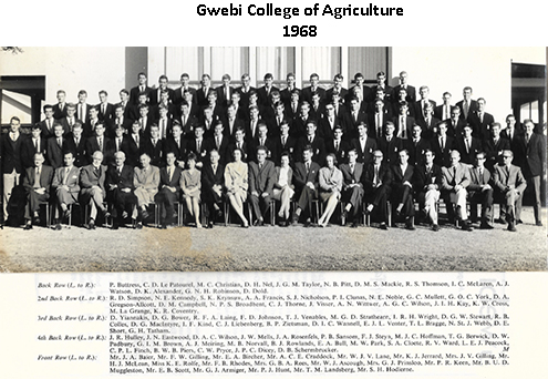 Photo of students and staff in 1968 at Gwebi College of Agriculture posted on www.gwebi.com.au