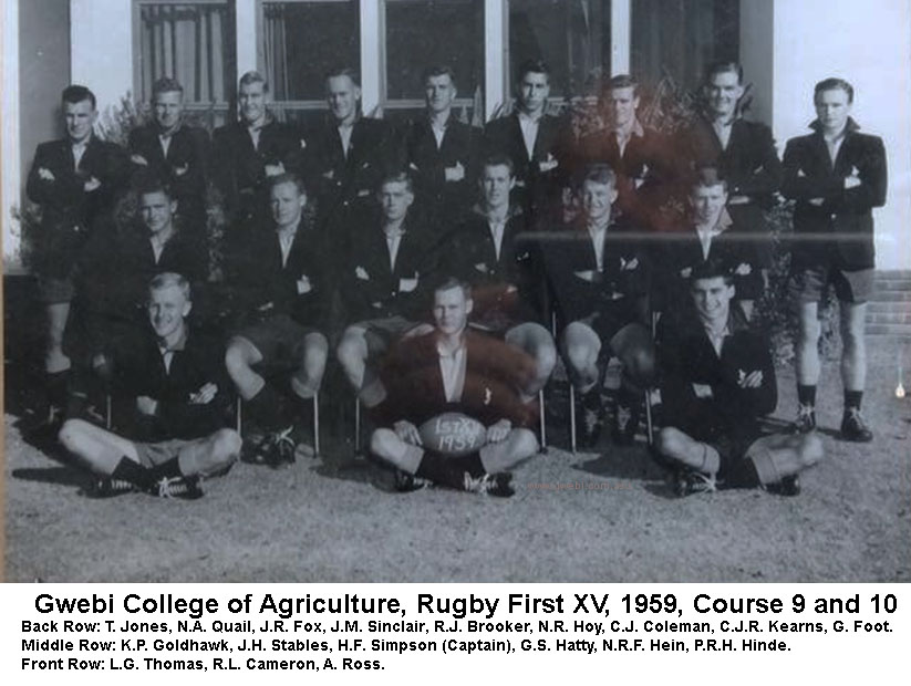 Gwebi College of Agriculture Rugby Fisrt XV 1959 Courses 9 and 10