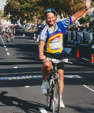Strath Brown, course 7 from Gwebi College of Agriculture, on completion of Cape to Argus in 2001
