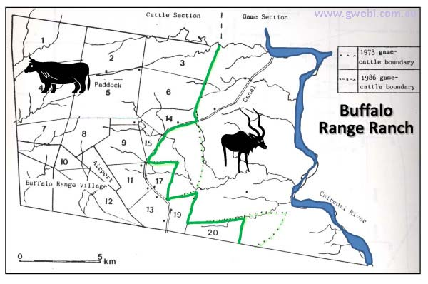Map of Buffalo Range Ranch cattle and wildlife areas